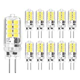 G4 LED Bulbs - 3W/20W G4 Halogen Bulbs AC DC 12V Equivalent, Cool White 6000K, G4 Energy Saving G4 Light Bulb, 10-Pack