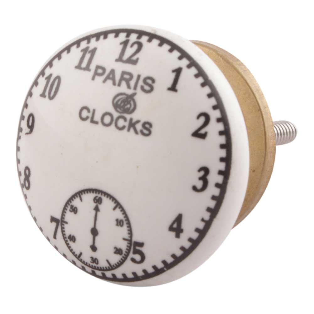 IndianShelf Handmade 8 Piece Ceramic White Paris Clocks Flat Home Decor Dresser Knobs/Wardrobe Cabinet Pulls