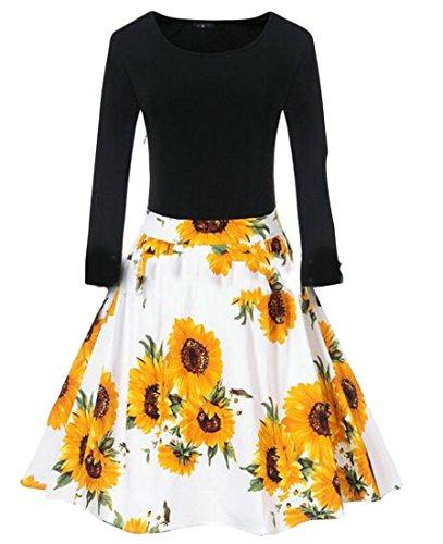 Waist High Dress Long Pleated Yellow Womens CMC Flare Sleeve Stylish Floral nwFSHqC