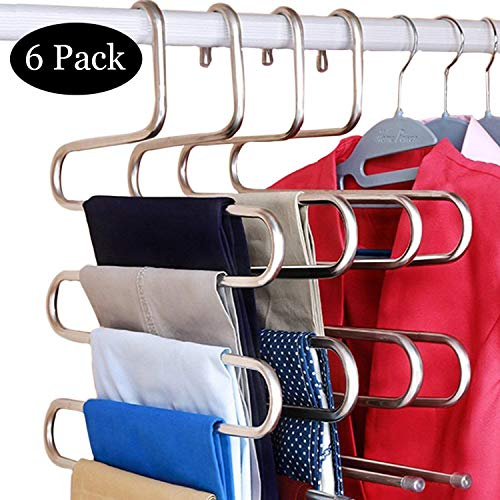 S Shape Swing Arms - DOIOWN 6 Pack Pants Hangers S-Shape Stainless Steel Clothes Hangers Space Saving Hangers Closet Organizer for Pants Jeans Scarf(5 Layers,6Pcs) (6-Pieces)