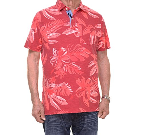 Tommy Hilfiger Men's Kevin Graphic Print Short-Sleeve Polo (Red, XX-Large)