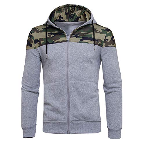 Dressin_Men's Clothes ClearanceMen' s Winter Patchwork Camouflage Zipper Hoodie Hooded Sweatshirt Coat Outwear