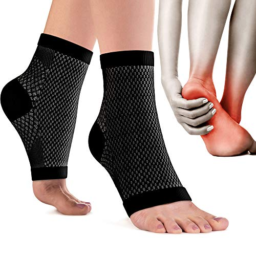Plantar Fasciitis Socks for Men & Women - Best 24/7 Arch Support - Compression Ankle Foot Sleeves - Black S/M