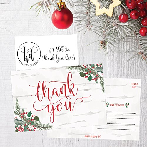25 4x6 Woodland Christmas Holiday Thank You Postcards Bulk, Blank Cute Modern Fancy Winter Note Card Stationery For Wedding, Bridesmaids, Bridal or Baby Shower, Teachers, Religious, Business Cards Photo #3