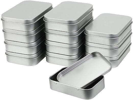 GOLRISEN Caja Metalica Pequeña, 12 unids Latas Pequeñas de Metal con Tapa, Caja Regalo Rectangulares, Caja para ...