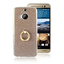 Soft Flexible TPU Back Cover Case Shockproof Protective Shell with Bling Glitter Sparkles and Kickstand for HTC M9 Plus ( Color : Gold )
