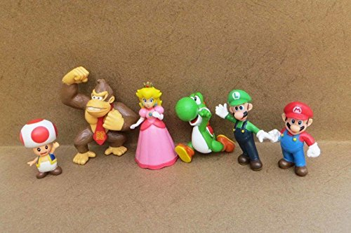 [Lot 6 Super Mario Bros Mini Figures Figurine Toy Doll Set] (Dry Bowser Costume)