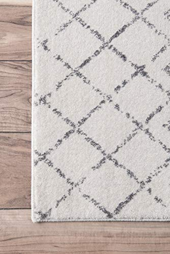 """nuLOOM Moroccan Blythe Runner Rug, 2' 8"""" x 8', Grey/Off-white - Made in Turkey PREMIUM MATERIAL: Crafted of durable synthetic fibers, it has soft texture and is easy to clean SLEEK LOOK: Doesn't obstruct doorways and brings elegance to any space - runner-rugs, entryway-furniture-decor, entryway-laundry-room - 51gMdTFXKgL -"""