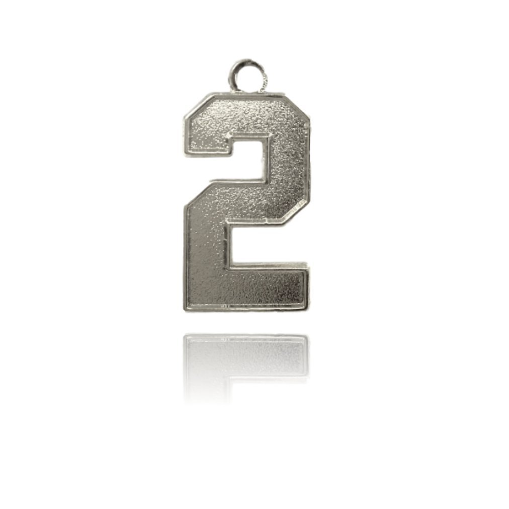 Number 2 Jersey Style Sports Necklace Charm Pendant (0.8'' Tall - Standard Size) SILVER PLATED Perfect For: Football, Baseball, Basketball, Soccer, Hockey, Softball, Volleyball, Lacrosse & More