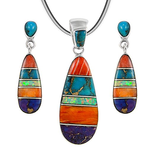 "Matching Set Turquoise & Gemstone 925 Sterling Silver (Pendant, Earrings, Necklace 20"") Multi-C00"