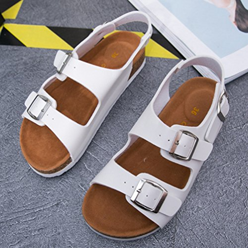 ZKOO Sandalias del Verano Mujeres Vendaje Peep Toe Sandalias Planas Romanas Punta Abierta Zapatos de Playa Ocio Blanco ghBozZUw