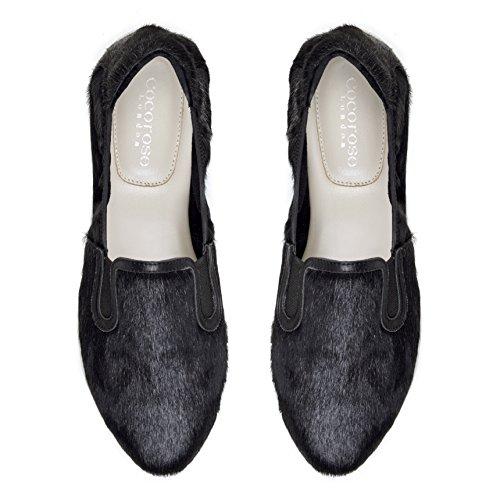 Sandringham Cocorose Zapatos Cabello Ballerinas Poni Plegables Cuero Mujer Negro rEaTxAE6qw