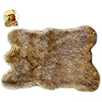 Wolf Skin Hide Coyote Plush Faux Fur Throw Rug Bear Skin Sheepskin Shag Light Golden Brown (2'x4')