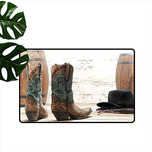 Anzhutwelve Western Decor,Carpets Doormat Cutouts with Black Cowboy Hat Infront of a Rustic Barrel and Background Racing Event Outside Door mats W 24