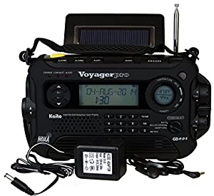 Kaito Voyager Pro KA600 Digital Solar Dynamo,Wind Up,Dynamo Cranking AM/FM/LW/SW & NOAA Weather Emergency Radio with Flashlight, Reading Lamp Alert,Smart Phone Charger & RDS and Real-Time Alert, with AC Adapter, Black by Kaito