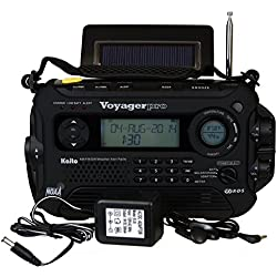 Kaito Voyager Pro KA600 Digital Solar Dynamo,Wind Up,Dynamo Cranking AM/FM/LW/SW & NOAA Weather Emergency Radio with Flashlight, Reading Lamp Alert,Smart Phone Charger & RDS and Real-Time Alert, with AC Adapter, Black