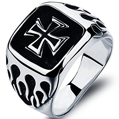 Stainless Steel Black Iron Cross Fire Ring