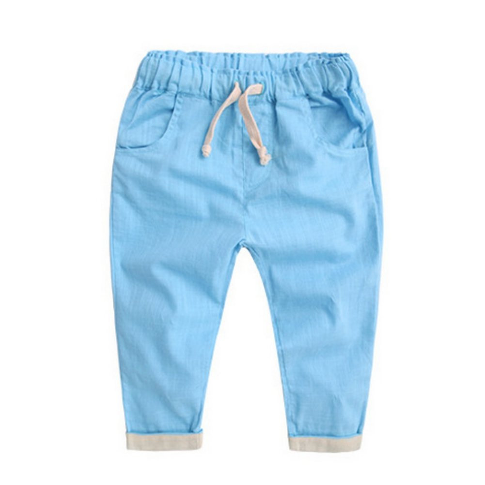 Miyanuby Boys Pants 2-7 Years Old, Spring Autumn Summer Candy Color Cotton Linen Pants Trousers