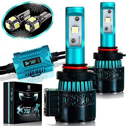 Glowteck LED Headlight Bulbs Conversion Kit - 9005(HB3) CREE XHP50 Chip 12000 Lumen/Pair 6K Extremely Bright 68w Cool White 6500K For Bright & Greater Visibility 2 Year Warranty