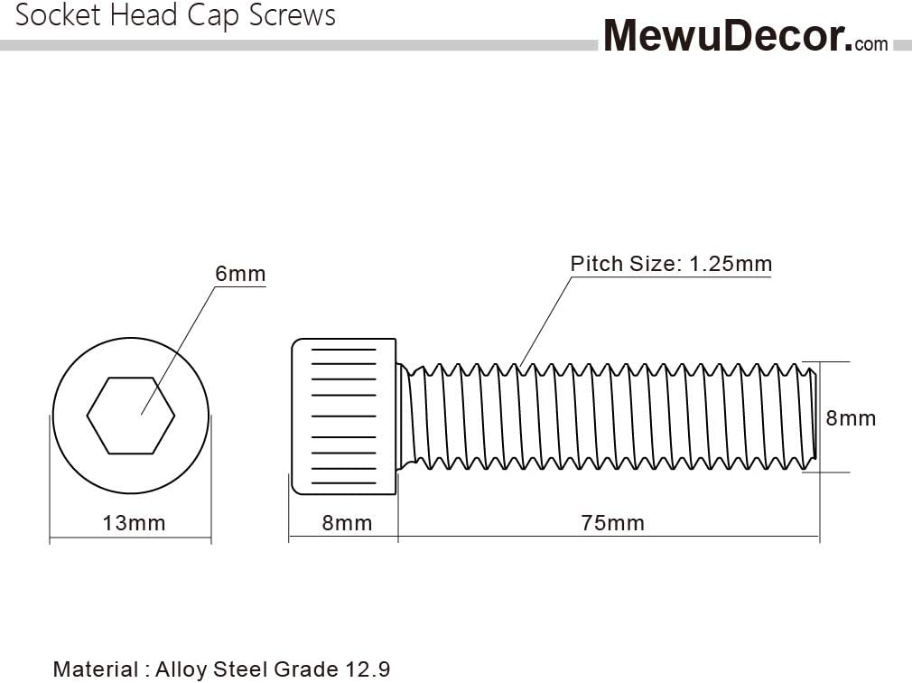 Thread Size M3-0.5 Socket Head Screw Alloy Steel