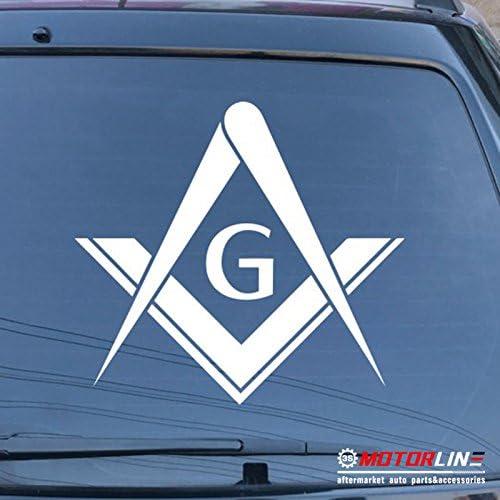 10.2cm 3S MOTORLINE Freemasonry Masonry Freemason Masonic Square and Compasses Decal Sticker Vinyl d White, 4