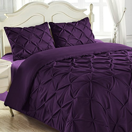 King & Queen Home Reinforced Double Stitch 3 Piece Pinch Pleat Comforter Set (King, - Plum Comforter King