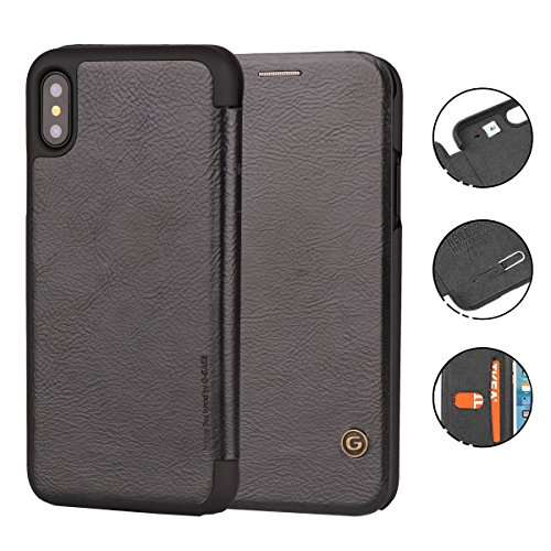 iPhone X Case, G-CASE [Business] Ultra Slim Folio Flip Leather Wallet Case 360 Degree Full Body Protection Case With Card Slot for ID/Card/Cash for Apple iPhone X (Black)