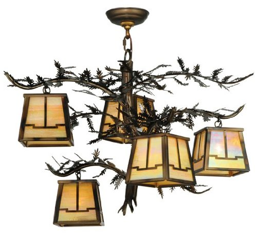 5-Light Pine Branch Valley View Chandelier in Burnished Copper