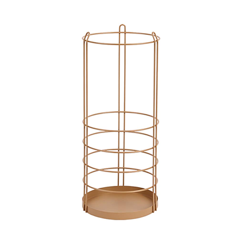 Nordic Iron Art Umbrella Stand The Mall Hotels Umbrella Storage Bucket Shelf (Color : Golden Brown)