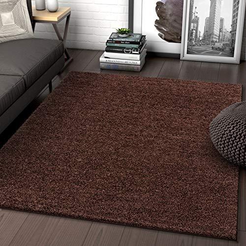 (Solid Retro Modern Brown Shag 5x7 (5' x 7'2'') Area Rug Plain Plush Easy Care Thick Soft Plush Living Room Kids Bedroom)
