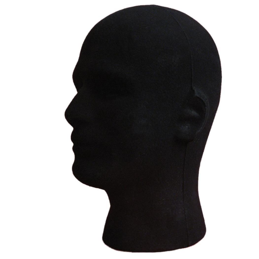 Dummy Model Heads, Transer® Male Styrofoam Foam Flocking Head Model Wig Glasses Display Stand Black Model Display Dummy Heads