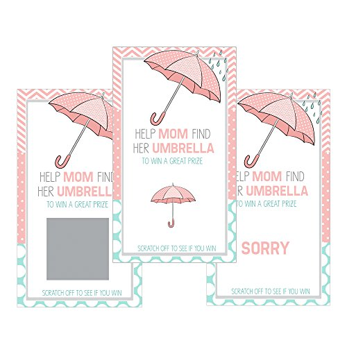 Set of 12 Scratch Off Game Cards for Baby Shower Games with Umbrella in Pink SC172 (Invitation Baby Umbrella Shower)
