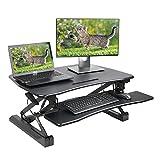 Dimivor Height Adjustable Standing Desk Converter - 36'' Wide Platform Sit Stand Desk Computer Workstation (Black)