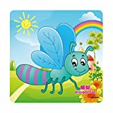 Boddenly Cartoon Insects Wooden Jigsaw Puzzles Educational Developmental Toy For Baby Kids (Dragonfly)
