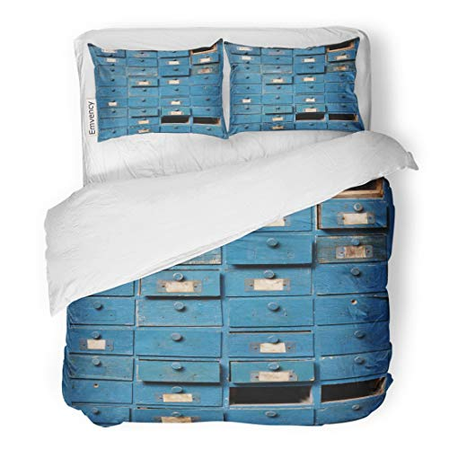 Tarolo Bedding Duvet Cover Set Aged and Very Old Broken Blue Wooden Cabinet Drawers Antique Apothecary Archive 3 Piece Queen 90