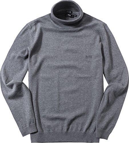 HUGO BOSS Herren Rollkragen-Pullover Schurwolle Troyer Meliert, Größe: XXL, Farbe: Grau
