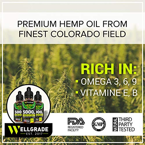 Hemp Oil for Pain & Anxiety Relief - 5000 MG - Premium Seed Grade - Natural Hemp Oil for Better Sleep, Mood & Stress - Improve Health - Vitamins & Fatty Acids - Made in The USA by Wellgrade est.2017 (Image #2)