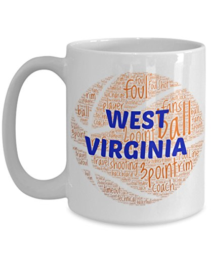 WEST VIRGINIA MOUNTAINEERS Basketball mug – coffee tea cup for college sports fan – ceramic team gift -- NCAA college basketball -- 11 ounce or 15 ounce white
