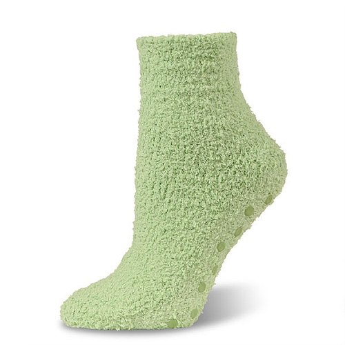 Marshmallow Soft Unisex Green Fuzzy Spa Slipper Socks w/Non-skid Grips by Crescent