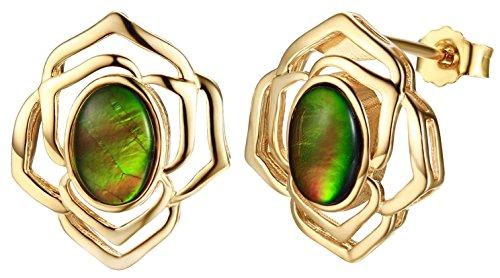 925 Silver oval-shape ammolite flower earring