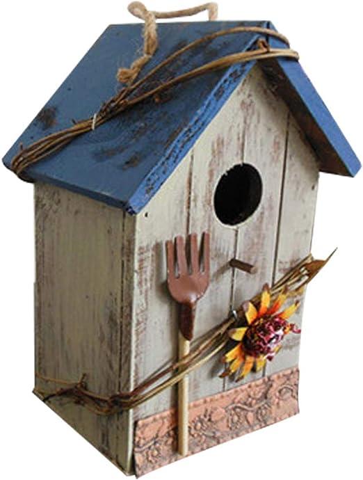 JYSPT - Caja Nido de Madera para pájaros (tamaño pequeño), Color Azul, Blue Roof: Amazon.es: Jardín