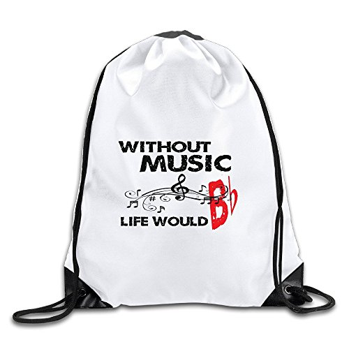 Kim Without Music Life Would Be Flat Men Knapsack Travel Size Size Key White