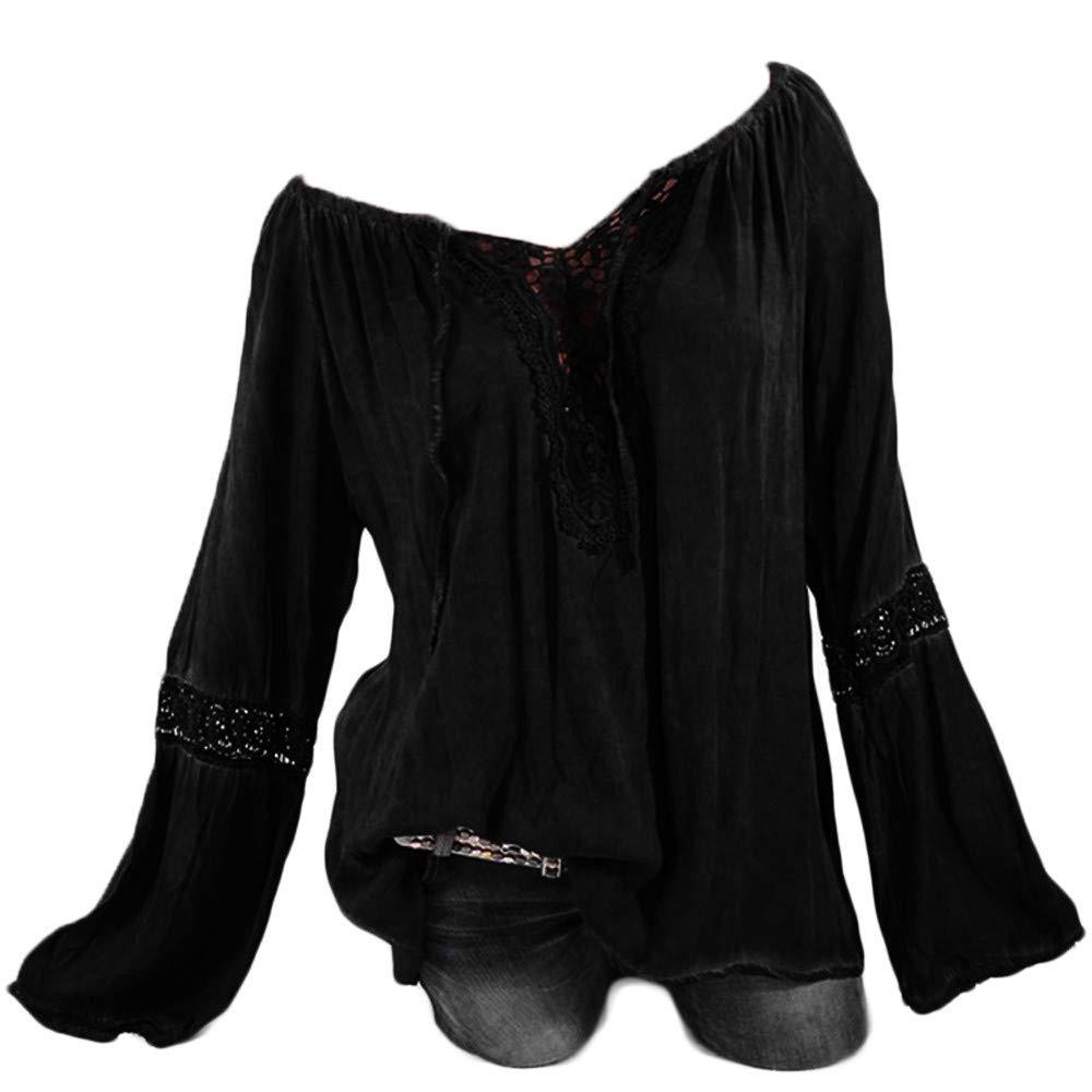 Plus Size Blouse Women Slash Neck Long Sleeves Pure Color Lace Splicing Tops Black