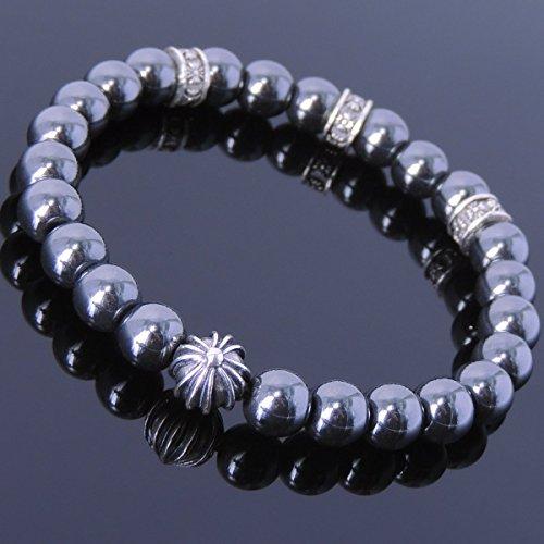Men and Women Bracelet Handmade with 8mm Hematite Gemstone and Genuine 925 Sterling Silver Celtic Cross Bead/ ()