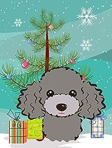 Caroline tesoros del BB1631GF Árbol de Navidad y gris plata caniche bandera de Jardín, pequeño, multicolor