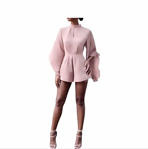 a22d4107dbc Image Unavailable. Image not available for. Color  Bat Sleeve Loose Solid  Color Round Neck Long Sleeved Jumpsuit ...