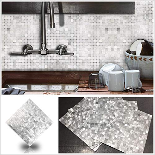 HomeyStyle Peel and Stick Tile Backsplash for Kitchen Wall Decor Aluminum Surface Metal Mosaic Tiles StickerPlaid 12quotx12quot x 5 Tiles