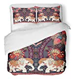 Emvency Bedsure Duvet Cover Set Closure Printed Decorative Happy Birthday in Thai Indian Lovely Elephants Peacocks Sun Mandala and Paisley Breathable Bedding Set With 2 Pillow Shams Full/Queen Size