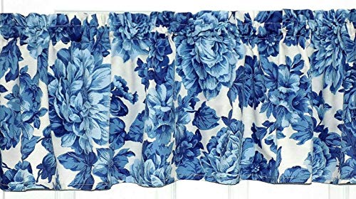 - Pioneer Woman Heritage Blue Floral Design Window Treatment Curtain Topper Valance matches tablerunner tablecloth
