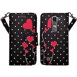 SOGA LG Volt 2 Case, LG Volt 2 Wallet Case - [Pocketbook Series] PU Leather Magnetic Flip Design Wallet Case for LG Volt 2 LS751 C90 (Boost Mobile) / Magna H500F / G4 Mini G4C - Sweet Polka Dot Heart